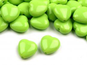 Korálky plastové 13mm Srdce (10ks) - zelené