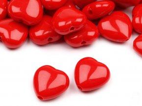 Korálky plastové 13mm Srdce (10ks) - červené