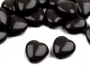 Korálky plastové 13mm Srdce (10ks) - černé