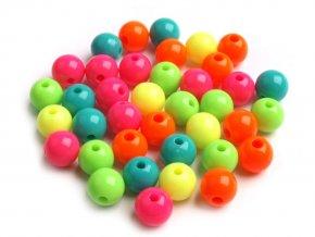 Korálky plastové OE 8mm kuličky - mix neonových barev (30kusů)