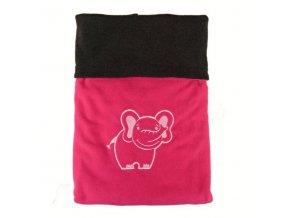 Dvojitá fleec deka s výšivkou Slon - antracit / malinová