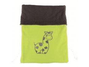 Dvojitá fleec deka s výšivkou Žirafa - tm. šedá / limetka