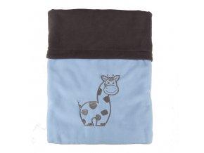 Dvojitá fleec deka s výšivkou Žirafa - tm. šedá / sv. modrá