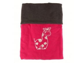 Dvojitá fleec deka s výšivkou Žirafa - tm. šedá / malinová