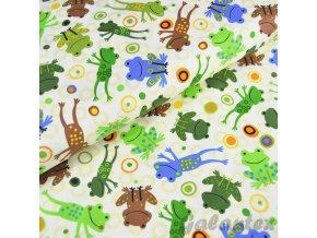 Bavlněné plátno Žáby na sv. žluté