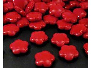 Korálky plastové 15mm Květina (10ks)  - červené