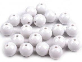 Korálky plastové 12mm Kulička - bílé