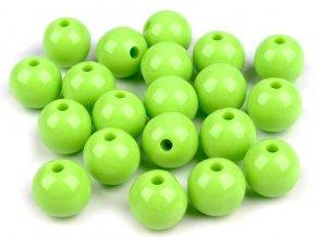 Korálky plastové 12mm Kulička (10ks) - zelené