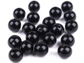 Korálky plastové 12mm Kulička (10ks) - černé