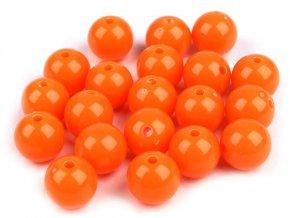 Korálky plastové 12mm Kulička (10ks) - oranžové