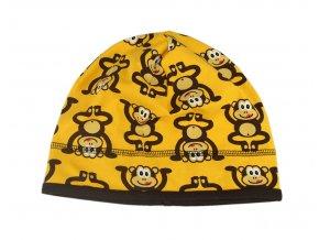 Čepice úplet s dvojitým lemem Opice na žluté