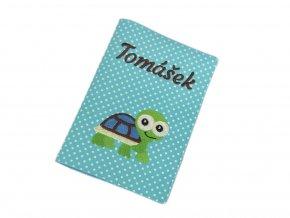 Obal na očkovací průkaz se želvou a jménem Tomášek - Puntík na tyrkysové