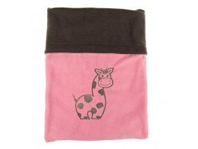 Dvojitá fleec deka s výšivkou Žirafa - tm. šedá / růžová