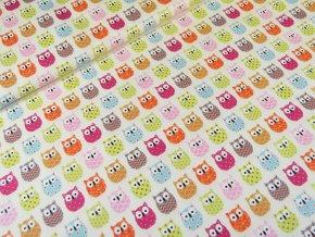 Bavlněné plátno Barevné sovičky na smetanové