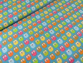 Bavlněné plátno Barevné sovičky na tyrkysové