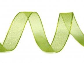 Šifónová stuha šířka 25 mm - zelená