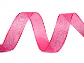 Šifónová stuha šířka 25 mm - růžová tmavá