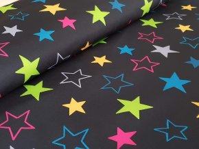 Softshell zimní - barevné hvězdy na černé