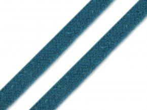 Oděvní šňůra plochá 8 mm - tyrkysová