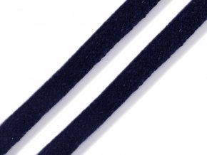 Oděvní šňůra plochá 8 mm - modrá tmavá