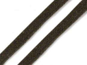 Oděvní šňůra plochá 8 mm - khaki