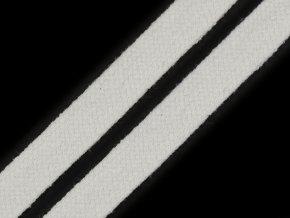 Oděvní šňůra plochá 15 mm - krémově bílá