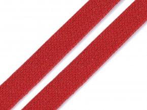 Oděvní šňůra plochá 12 mm - čevená