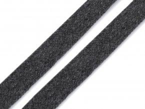 Oděvní šňůra plochá 15 mm - šedá tmavá