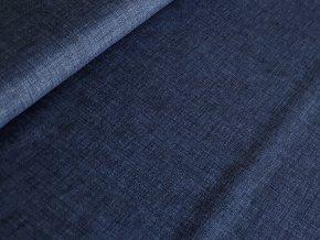 Dekorační látka režný efekt - tm. modrá