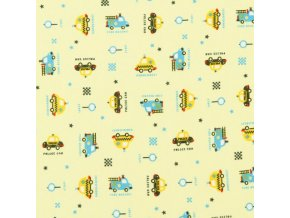 Oboulícní úplet potištěný - Mini auta na sv. žluté