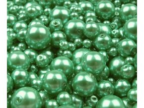 Voskované perly 4-12mm kulička (30g) - sv. zelené