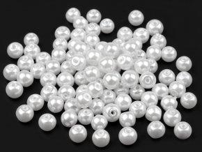 Voskované perly 6 mm kulička (50ks) - bílé