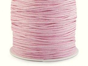 Šňůra bavlněná 1,5 mm voskovaná - sv. růžová (5 metrů)