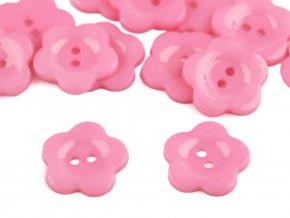 """Knoflík plastový 36"""" Květ - růžový"""