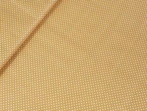 Bavlněné plátno puntík 2 mm - okrové