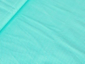 Bavlněné plátno puntík 2 mm - aqua