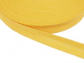 Šikmý proužek bavlněný šíře 14 mm - žlutý