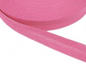 Šikmý proužek bavlněný šíře 14 mm - růžový