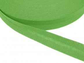 Šikmý proužek bavlněný šíře 14 mm - zelená jarní