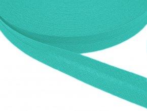 Šikmý proužek bavlněný šíře 14 mm - zelený tyrkys