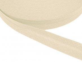 Šikmý proužek bavlněný šíře 14 mm - béžová světlá