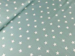 Bavlněné plátno Hvězdy na šedozelené