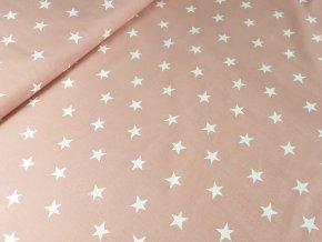 Bavlněné plátno Hvězdy na starorůžové