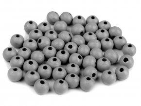 Korálky dřevěné kulička 8 mm (50 kusů) - šedé
