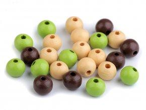 Korálky dřevěné kulička 10 mm (30 kusů) - mix IV.