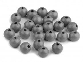 Korálky dřevěné kulička 10 mm (30 kusů) - šedé