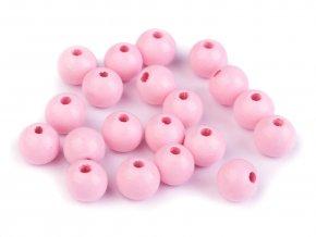 Korálky dřevěné kulička 10 mm (30 kusů) - růžové