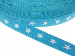 Pruženka vzorovaná 20 mm hvězdy - tyrkysová