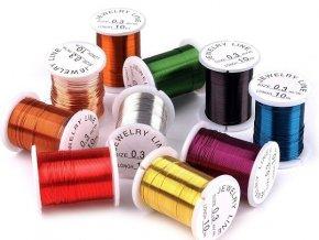 Drátek na výrobu bižuterie 0,3mm - 10 kusů - mix barev