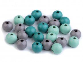 Korálky dřevěné kulička 10 mm (30 kusů) - mix III.